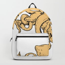 Giant Octopus Fighting Hydra Drawing Backpack