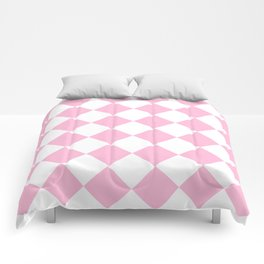 Large Diamonds - White and Cotton Candy Pink Comforters