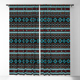 Aztec Blues Reds Black Mixed Motifs Pattern Blackout Curtain