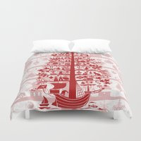 blankets Duvet Covers featuring CHRISTMAS TREE red ITINERANT by Chicca Besso
