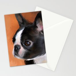 Perky Boston Terrier Stationery Cards