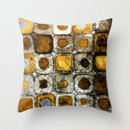 Golden Penny Squares Throw Pillow