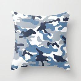 Blue and White Camo Throw Pillow