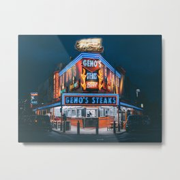 Geno's at Night, Philly Metal Print