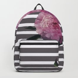 Painted Pink Peonies on Striped Background Backpack