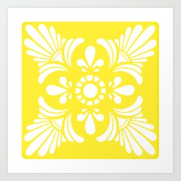 Mediterranean Yellow and White Tile Art Print