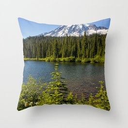 Wildflower Color by Reflection Lake and Mt Rainier, No. 2 Throw Pillow