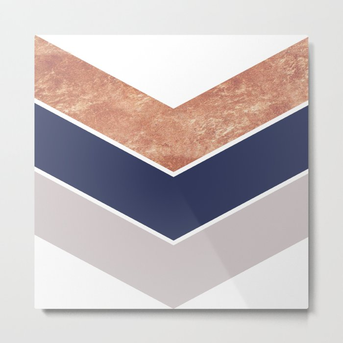 Scandinavian Copper Navy Gray Geometric Pattern Metal Print
