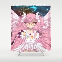 madoka Shower Curtains featuring You Are Not Alone by Corpse Cutie