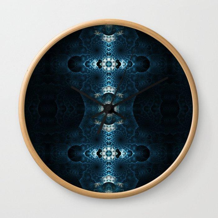 Fractal Art - Blue Corals Wall Clock