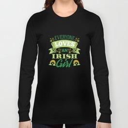 Cute St Patricks Day Irish Ireland Women Girl Gift Long Sleeve T-shirt