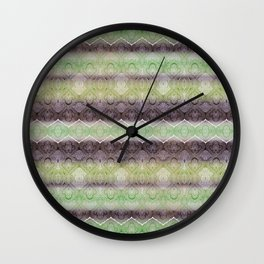 paisley ribbon in lime Wall Clock