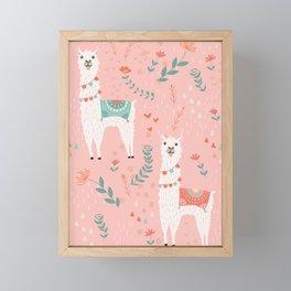 Lovely Llama on Pink Framed Mini Art Print