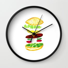 Watercolor hamburger details Wall Clock