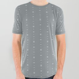 Dashes & Dots - Simple Dot & Line Pattern- Blue Gray All Over Graphic Tee