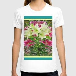 PURPLE & WHITE LILIES  TURQUOISE FLORAL MODERN ART T-shirt