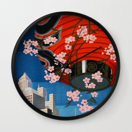 Tokyo Japan Vintage Travel Poster Colorful Mid Century Commercial Advertisement Wall Clock