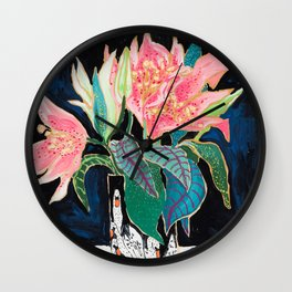 Swan Vase with Pink Lily Flower Bouquet on Dark Blue and Black Winter Floral Wall Clock