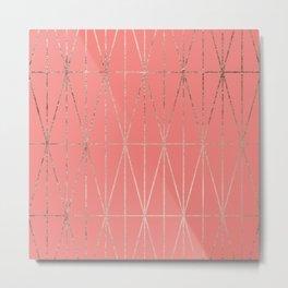 Modern geometric triangles faux rose gold coral pattern Metal Print