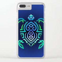 Tribal Turtle Ombre Background Clear iPhone Case