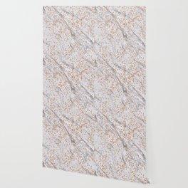 Rose gold diamond confetti on marble Wallpaper