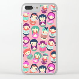 Babushka Russian doll pattern Clear iPhone Case