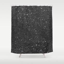Modern chic elegant trendy faux black glitter Shower Curtain