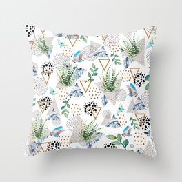 Geometric with cactus and butterflies Throw Pillow