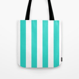 Vertical Stripes - White and Turquoise Tote Bag