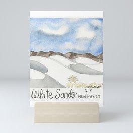 White Sands, New Mexico-National Park-Watercolor Illustration Mini Art Print