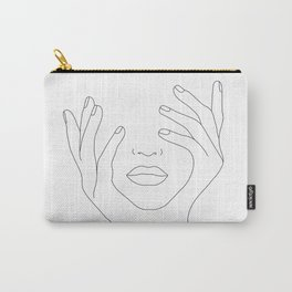 Minimal Line Art Woman with Hands on Face Carry-All Pouch