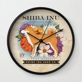 Shiba Inu Seed Company wildflower seed artwork by Stephen Fowler Wall Clock