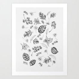 Scattered Garden Herbs, Black and White Art Print