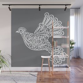 Peace, Dove, Gray and White Wall Mural