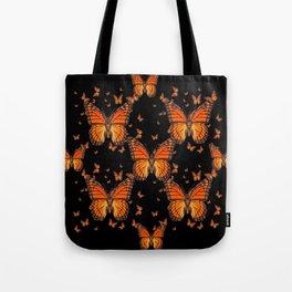 ORANGE MONARCH BUTTERFLIES BLACK MONTAGE Tote Bag
