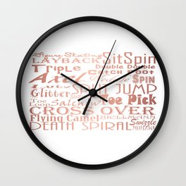Figure Skating Subway Style Typographic Design Rose Gold Foil Wall Clock