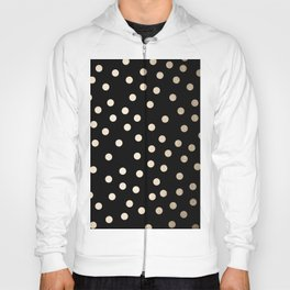 Simply Dots White Gold Sands on Midnight Black Hoody