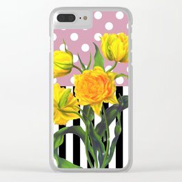Yellow Tulips Polka Dot Clear iPhone Case