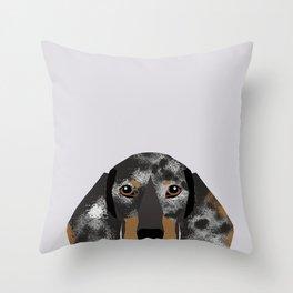 Doxie Portrait - Black and Tan Dapple dog design - cute dachshund face Throw Pillow
