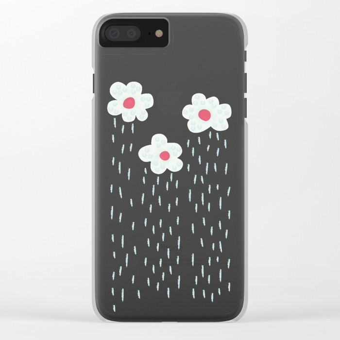 Rainy Flowery Clouds Clear iPhone Case