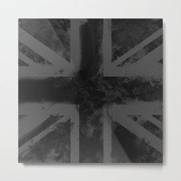 Black UK Flag Metal Print