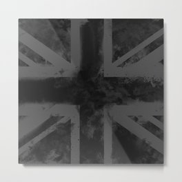 Black UK Flag Metal Print