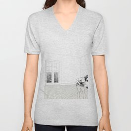 Pleasures of Merely Circulating Pencil drawing by Michigan artist Unisex V-Neck