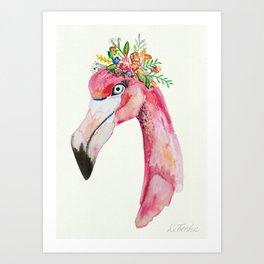 flamingo flowers Art Print