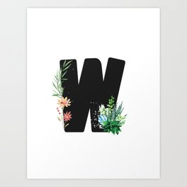 Letter W - Botanical English Alphabet, Name Initial Art Print