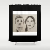 katniss Shower Curtains featuring Katniss and Peeta by Brittany McCarty
