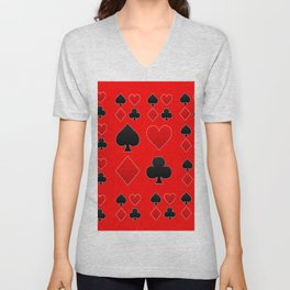 RED & BLACK PLAYING CARD ART ON RED Unisex V-Neck
