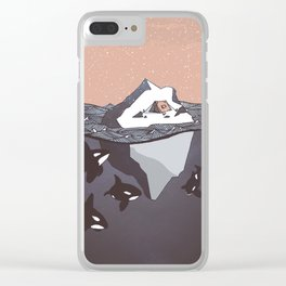 Pod of Orca (Killer Whales) spying on a small tent on an iceberg, under snowy pink sky Clear iPhone Case