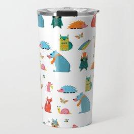 Scandinavian woodland animals pattern print Travel Mug