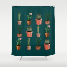 Various Cacti Green Shower Curtain